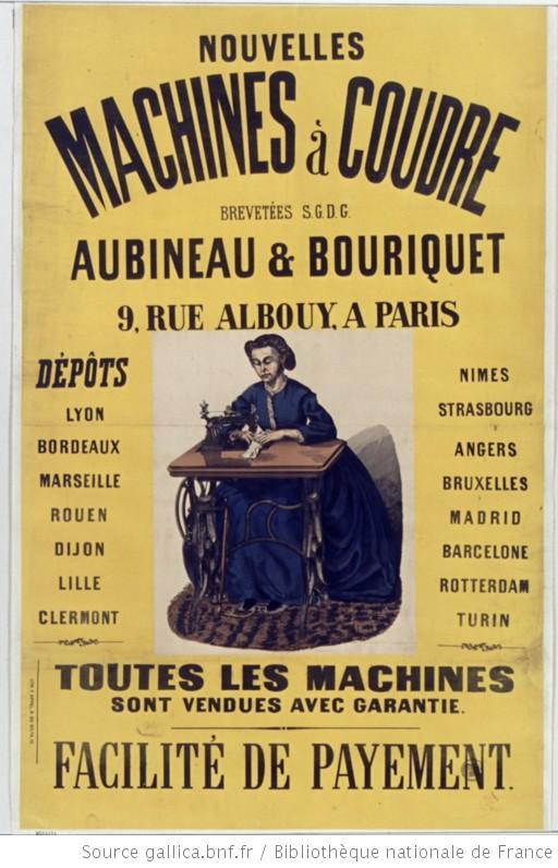affiche publicitaire machine à coudre Aubineau et Bouriquet 1866