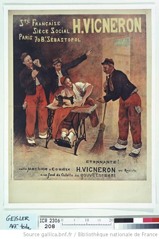 publicité machine à coudre H Vigneron 1907