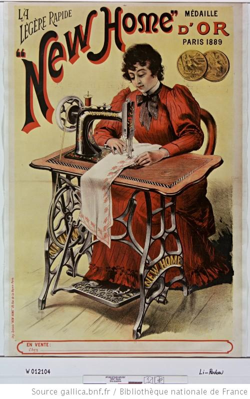 affiche publicitaire machine à coudre new home 1889