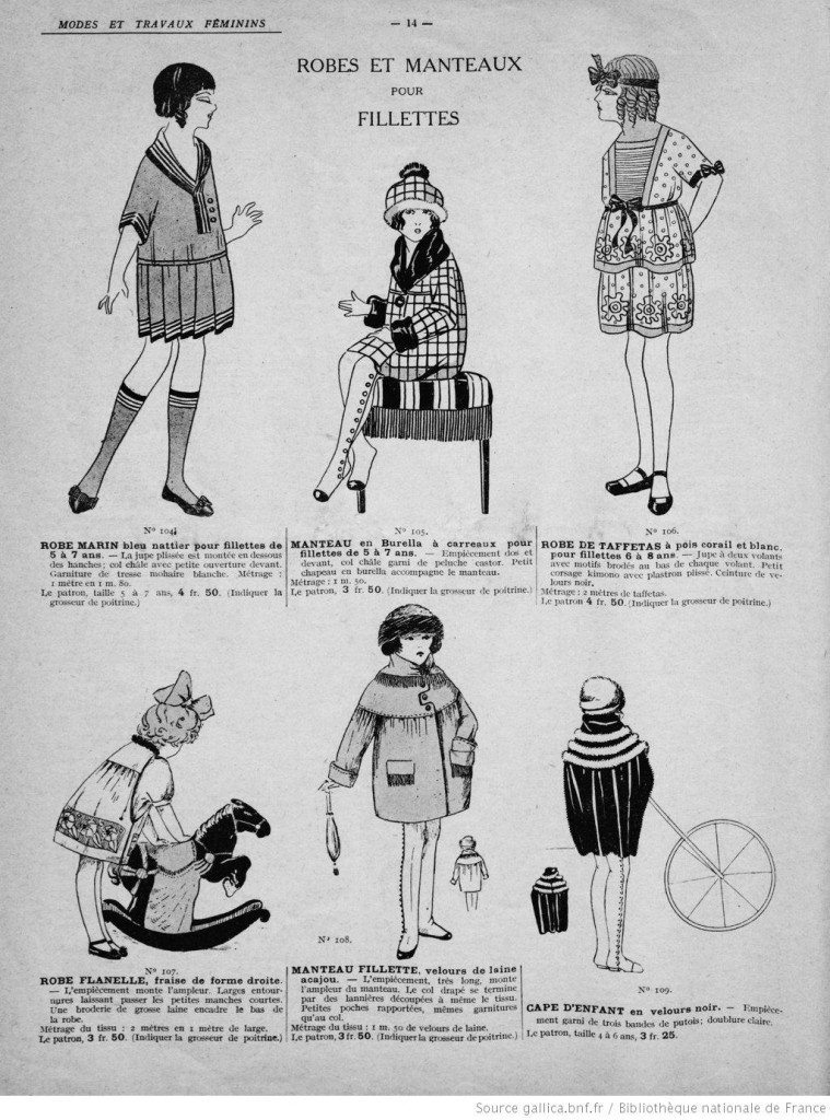 Robes et manteaux pour fillettes années 20